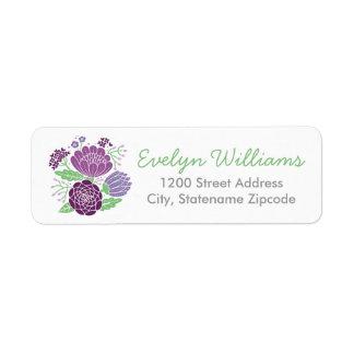 El remite etiqueta el | las flores púrpuras y verd etiqueta de remite