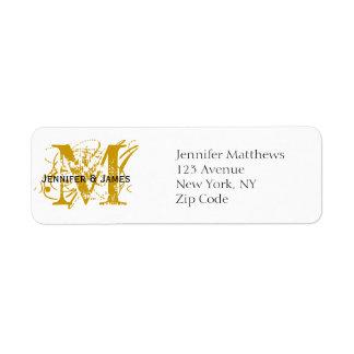 El remite etiqueta el oro elegante del monograma etiquetas de remite