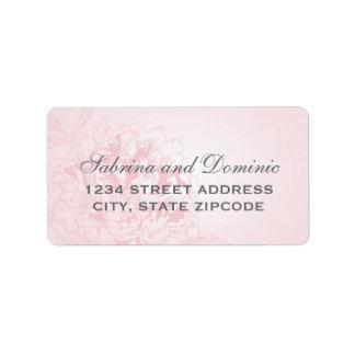 El remite etiqueta el | Peony rosado diseño floral Etiquetas De Dirección