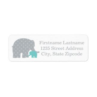 El remite etiqueta elefantes del | aguamarina gris etiqueta de remitente
