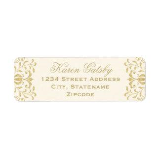 El remite etiqueta encanto del vintage del oro del etiqueta de remite