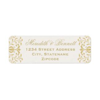 El remite etiqueta encanto del vintage del oro del etiqueta de remitente
