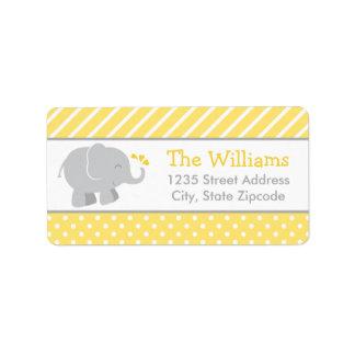 El remite etiqueta gris del amarillo del elefante etiqueta de dirección