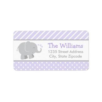 El remite etiqueta púrpura y gris del elefante del etiquetas de dirección