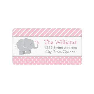 El remite etiqueta rosa y gris del elefante del | etiquetas de dirección