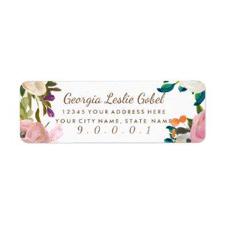 El remite pintado de las floraciones florales etiqueta de remitente