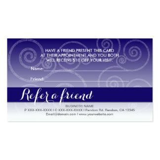 El remolino blanco azul marino refiere tarjetas de tarjetas de visita