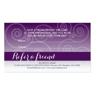 El remolino blanco púrpura oscuro refiere tarjetas tarjetas de visita