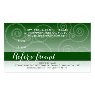El remolino blanco verde oscuro refiere tarjetas tarjetas de visita