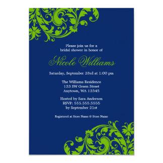 El remolino de los azules marinos y del verde invitación 12,7 x 17,8 cm