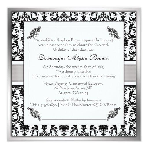 """El remolino elegante del damasco invita [la plata] invitación 5.25"""" x 5.25"""""""