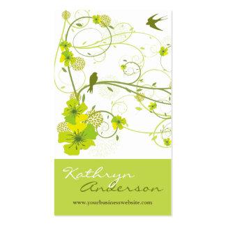 El remolino floral del hibisco verde elegante tarjeta personal