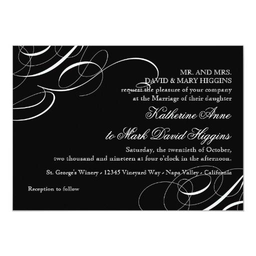"""El remolino moderno diagonal de la caligrafía del invitación 5"""" x 7"""""""