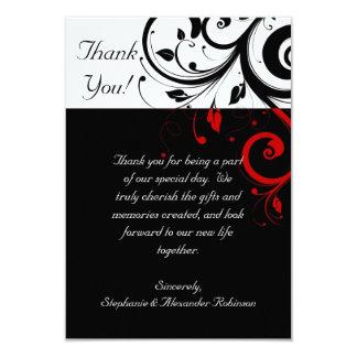 El remolino reverso negro/blanco/rojo le agradece invitación 8,9 x 12,7 cm