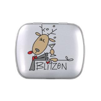 El reno de Blitzen estaña y sacude el caramelo del Frascos De Caramelos