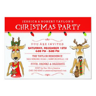 """El reno de la fiesta de Navidad con las bebidas Invitación 5"""" X 7"""""""