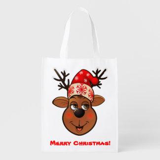 El reno de Papá Noel de encargo Bolsas Reutilizables