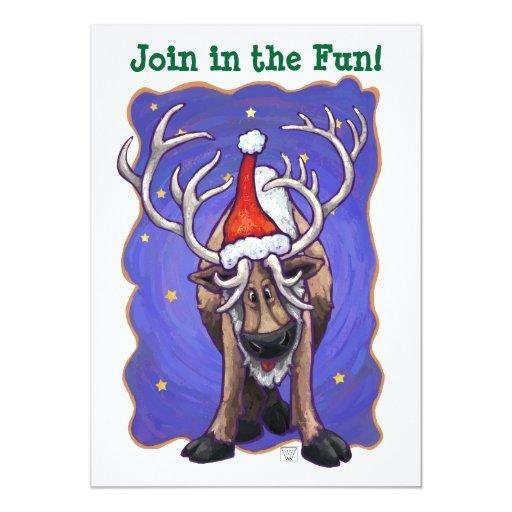 El reno en celebración de días festivos del gorra invitación 12,7 x 17,8 cm