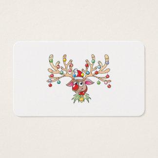 El reno lindo de Rudolf con las luces de navidad Tarjetas De Visita