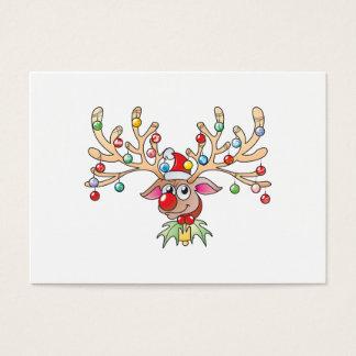 El reno lindo de Rudolf con las luces de navidad Tarjetas De Visita Grandes