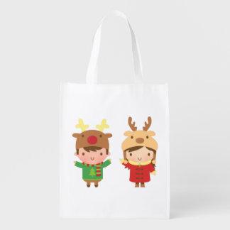 El reno lindo embroma Felices Navidad Bolsa De La Compra
