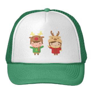 El reno lindo embroma Felices Navidad Gorros Bordados