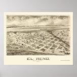 EL Reno, mapa panorámico de la AUTORIZACIÓN - 1891 Póster
