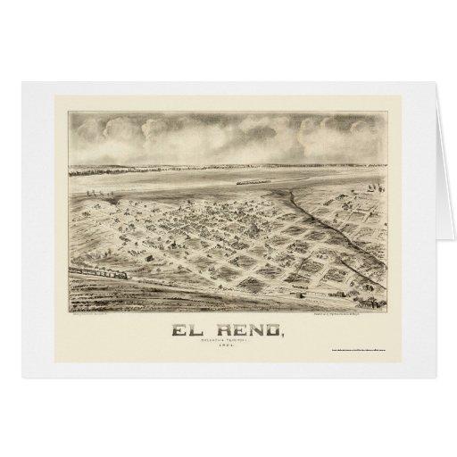 EL Reno, mapa panorámico de la AUTORIZACIÓN - 1891 Tarjeta De Felicitación