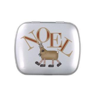El reno Noel estaña y sacude el caramelo del W. Latas De Dulces