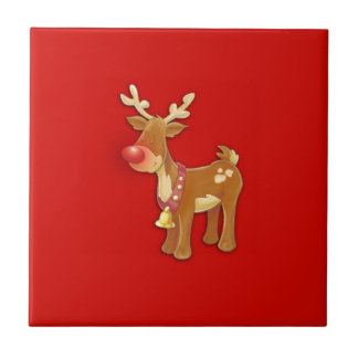el reno sospechado rojo azulejo cuadrado pequeño