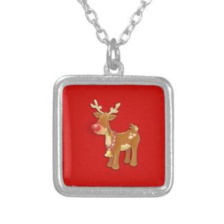 el reno sospechado rojo colgante cuadrado