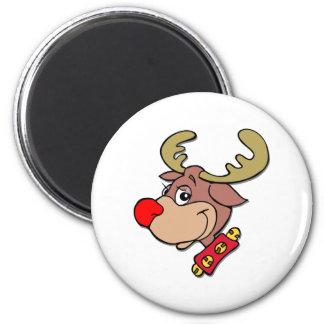 el reno sospechado rojo imán redondo 5 cm