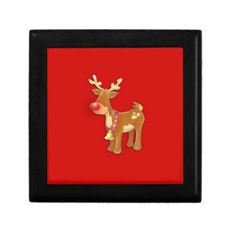 el reno sospechado rojo joyero cuadrado pequeño