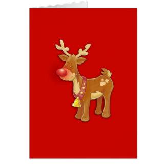 el reno sospechado rojo tarjeta de felicitación