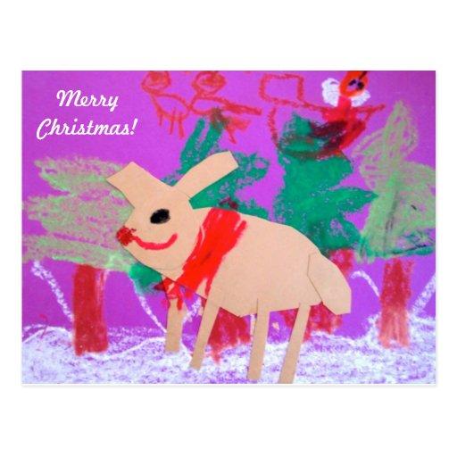 el reno y el Papá Noel rojos de la nariz Postales
