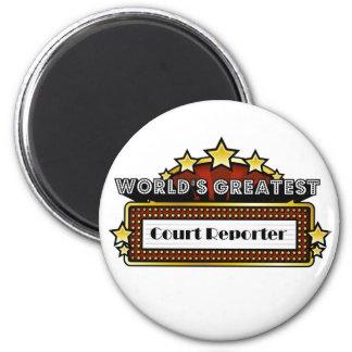 El reportero de la corte más grande del mundo imán redondo 5 cm