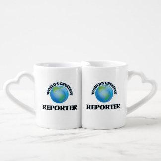 El reportero más grande del mundo tazas para parejas
