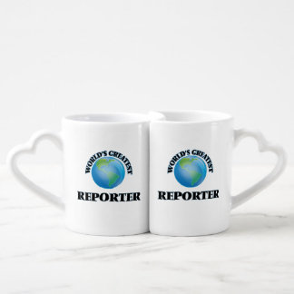 El reportero más grande del mundo taza para parejas