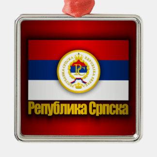 El República Serbia Adorno Cuadrado Plateado