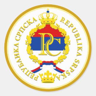 El República Serbia Pegatina Redonda