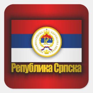 El República Serbia Pegatina Cuadrada
