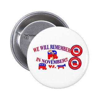 El republicano recuerda en noviembre ObamaCare ant Pin Redondo De 2 Pulgadas