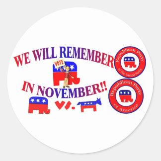 El republicano recuerda en noviembre ObamaCare Pegatina Redonda