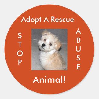 El rescate animal - adopte pegatina redonda