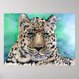 El resplandor azul del leopardo póster