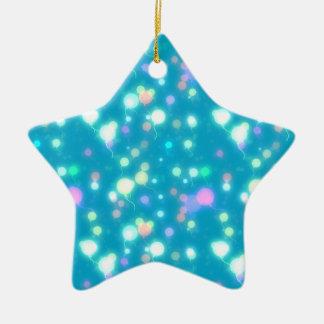 El resplandor ligero hincha diseño azul brillante adorno navideño de cerámica en forma de estrella