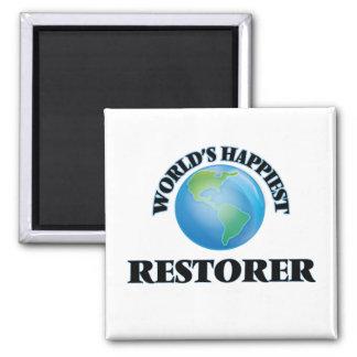 El restaurador más feliz del mundo imán cuadrado
