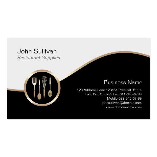 El restaurante suministra el icono de los utensili plantilla de tarjeta de visita
