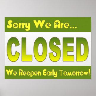 El restaurante suministra la muestra cerrada verde póster