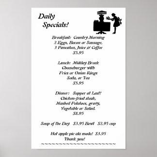El restaurante suministra Specials diarios Poster